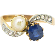 French Art Nouveau Sapphire & Diamond  ring, 18kt gold and platinum, c.1900