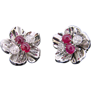 Rubies and diamonds RETRO earrings clips, 9kt gold, circa 1940