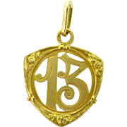 Antique French Lucky 13 charm / pendant ~ c.1905, 18kt gold