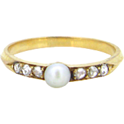 Antique Victorian pearl & roses cut diamonds ring, 18kt gold, circa 1880