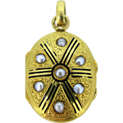 Antique French Locket, Pearls, Enamel and 18kt gold, circa 1880