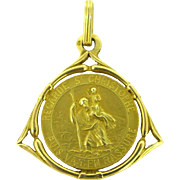 Vintage French Medal, St Christophe, 18kt gold, circa 1930