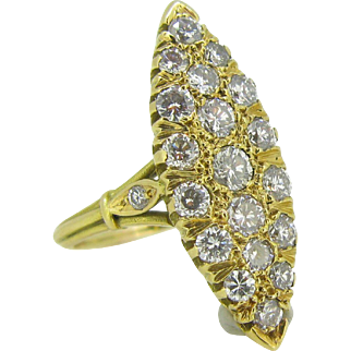 French Marquise Diamonds ring, 18kt gold