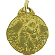 RARE Antique French Medal, st Christophe by Paul Brandt , 18kt yellow gold, c.1920