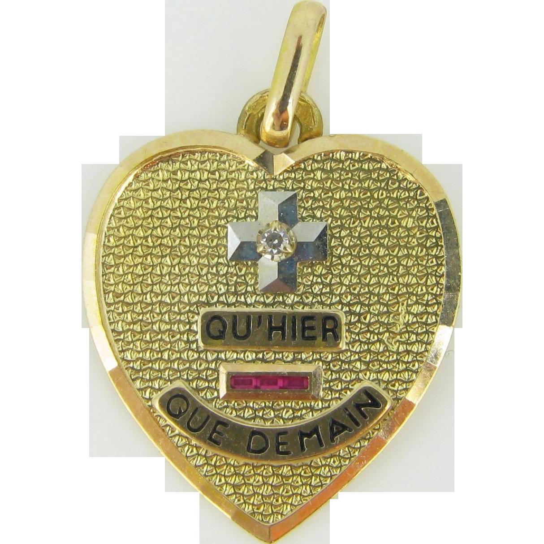 Plus qu'hier Moins que demain Augis medal, HEART shape, 18kt gold, c.1960