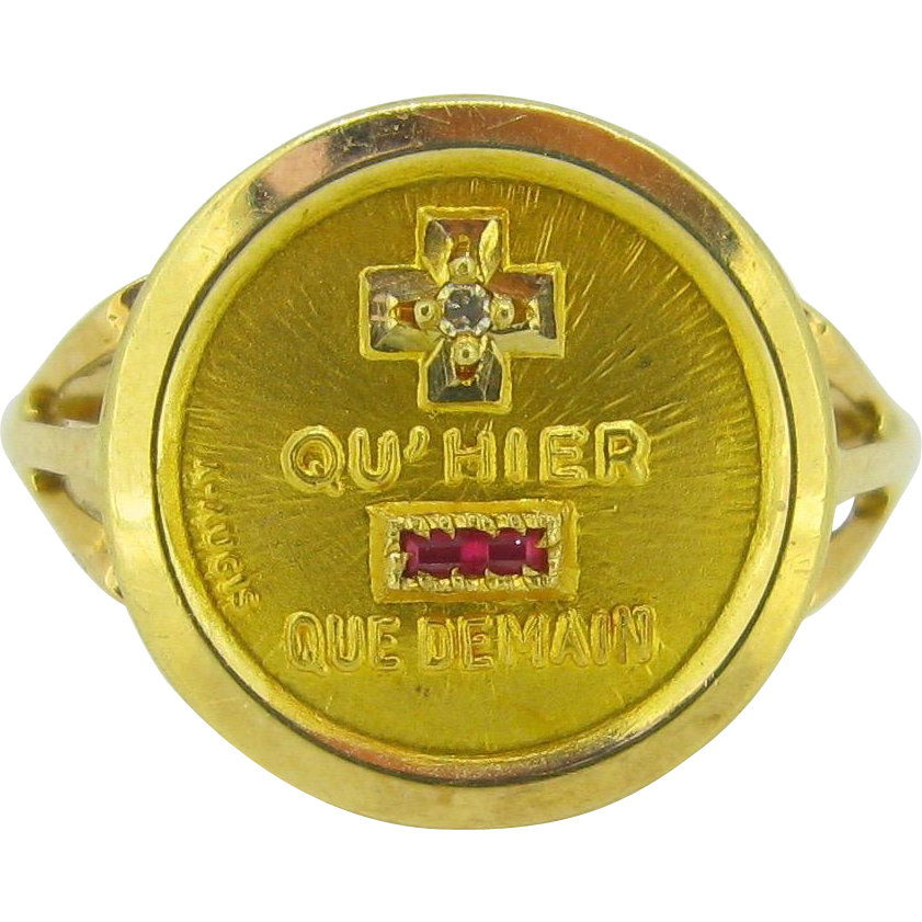 """""""+ que hier - que demain"""" French love RING by A. Augis, c.1960, 18kt gold"""