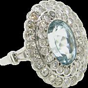 Antique Belle Epoque / Edwardian Aquamarine and diamonds ring, platinum, c.1915