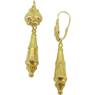Beautiful FRENCH Antique Dormeuses earrings, 18kt gold, c.1880