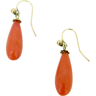 Victorian Natural Coral drop Earrings, 18kt gold c.1880