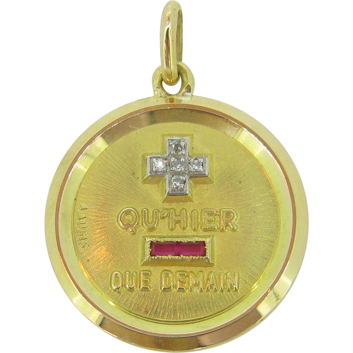 Retro Augis Pendant, French, 18kt gold, c.1960