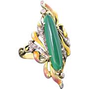 French Art Nouveau Chrysoprase Diamonds ring, 18kt gold and platinum, circa 1905