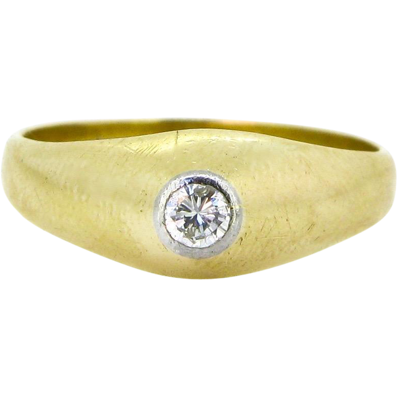 French GYPSY diamond ring, 18kt gold and platinum, circa 1940