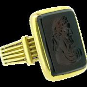 Antique Victorian Intaglio ring ~ carnelian, 18kt gold, c.1880