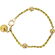 Victorian 18kt gold Link & beads bracelet, circa 1880