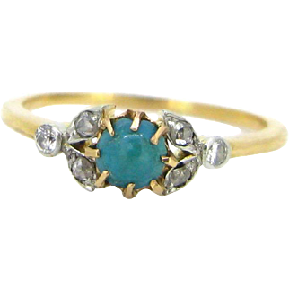 Antique Victorian Turquoise ring, 18kt gold and platinum