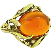 French Art Nouveau Fire Opal ring, 18kt gold, circa 1900