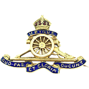 Badge of the Royal Regiment of Artillery, 15kt gold