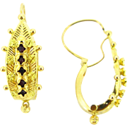 French Victorian dormeuses, earrings, 18kt gold, circa 1880