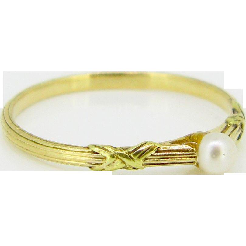Single Pearl Art Nouveau ring, 18kt gold, c.1900