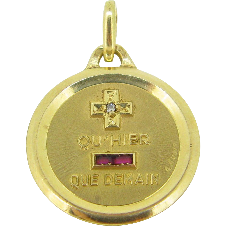"A ""+ que hier - que demain"" French pendant/ love charm by A. Augis, c.1960"