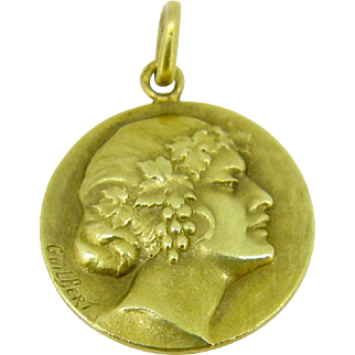 Unique French Medal by Guilbert, Art Nouveau, c.1900, 18kt gold