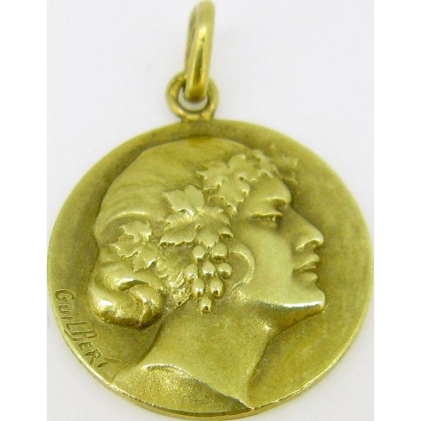 Unique French Medal by Guilbert, Art Nouveau, c.1900, 18kt gold