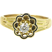 French Victorian Enamel Diamond ring, 18kt gold, circa 1880