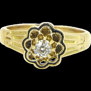 French Victorian Enamel Diamond ring, 18kt gold, circa 1880