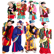 RARE Chinese eight fairies, cloth& paper dolls