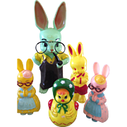 Nostalgic Bunnys and a chick Easter toys
