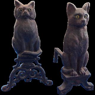 Vintage black cat andirons,mismatched pair
