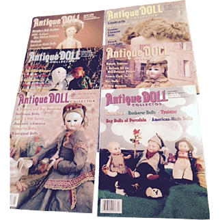 Free ship, 6 antique doll collector magazines