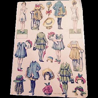 1918 French paper dolls, uncut