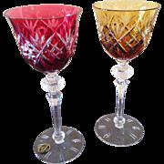 Vintage etched Crystal  wine goblets