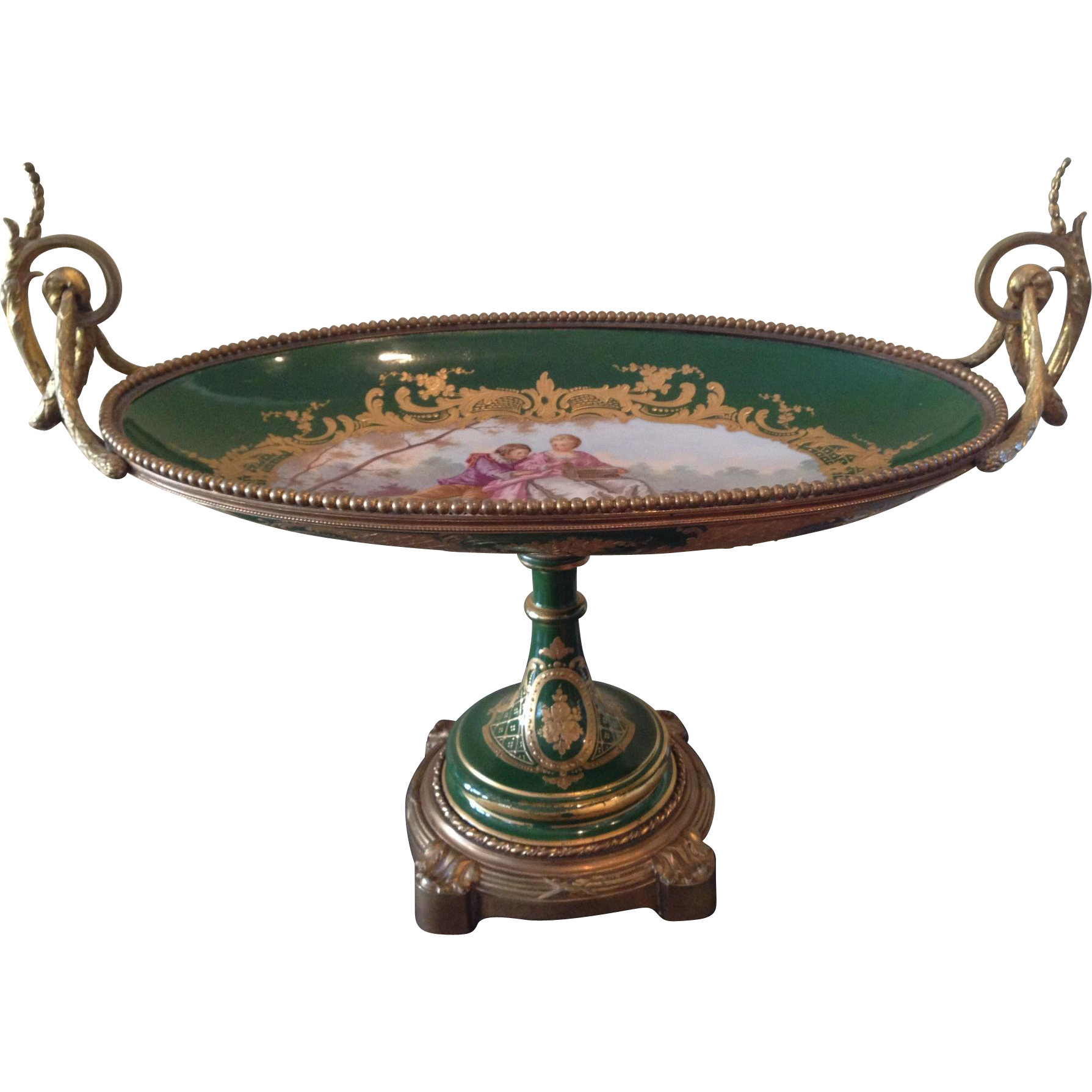 Beautiful Sevres style footed console bowl
