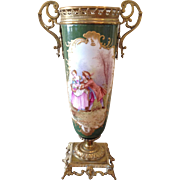 Sevres style porcelain and brass urn