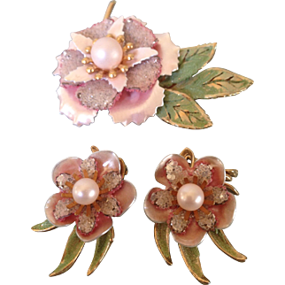 50's frosted Pink rose Brooch & Earrings