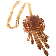 Beautiful vintage Agate & Rhinestone necklace