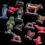 VIntage Lot of hard rubber Farm figures