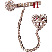 KRAMER Sterling Key to my heart Brooch