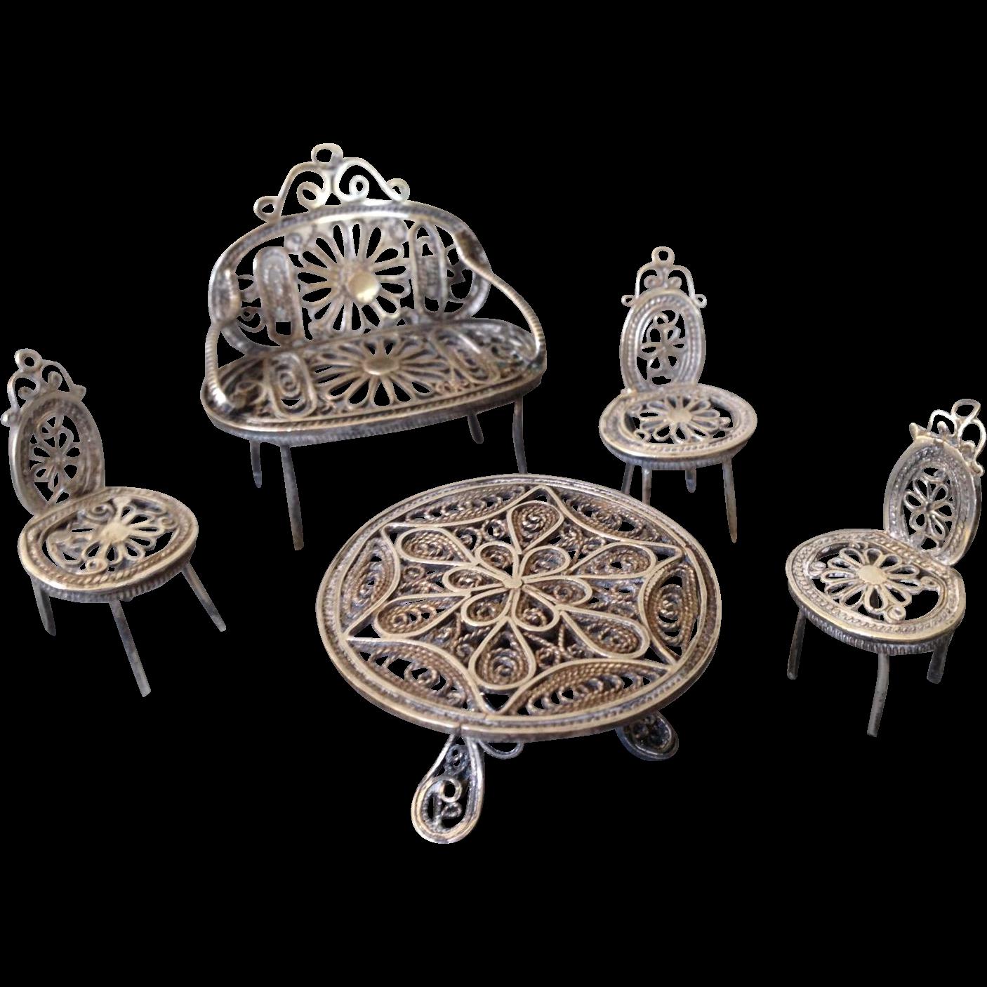 Vintage soft metal dollhouse furniture