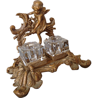 Vintage cherub ink well and pen rest