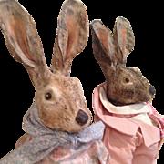 Magnificent Mr & Mrs Rabbit, Artist dolls