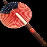 Vintage mint cardboard cigar American flag fan