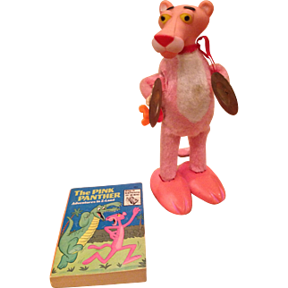 Vintage Pink Panther figure and book
