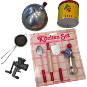 Vintage set of kitchen utensils for dolly!