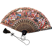 Classy vintage fan with oriental theme - Red Tag Sale Item