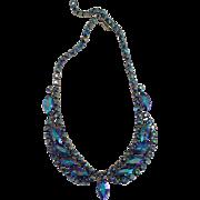 Gorgeous vintage  blue rhinestone necklaces
