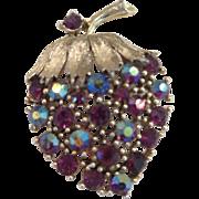 Vintage thistle berry rhinestone pin