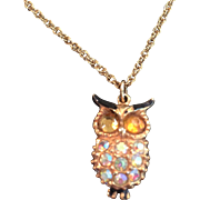 Vintage rhinestone owl necklace